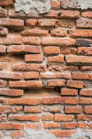 bangrak: Old red brick wall in the wall of old building.