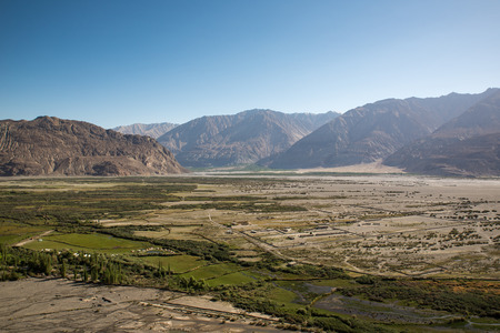 maitreya: View from Diskit monastery in the Nubra Valley of Ladakh Stock Photo