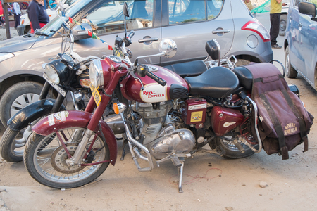 enfield: Leh Ladakh,India - July 8,2014 : Motocycles brand Royal Enfield in Leh Market.