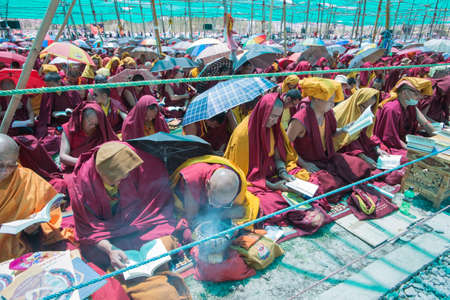 holiness: Leh Ladakh,India - July 8,2014 :  Lama (monk) attending His Holiness the Dalai Lamas 33rd Kalachakra Empowerment in Leh, Ladakh.