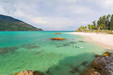 water wave: Sunrise beach with blue cloud sky in Koh Lipe island Stock Photo