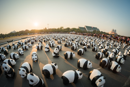 papier mache: BANGKOK,THAILAND - MARCH 4, 2016 : 1,600 pandas have just arrived in Bangkok as part of their world tour. The papier mache sculptures will be exhibited in Bangkok during March and April 2016.The number 1,600 represents how many pandas are left in the wild