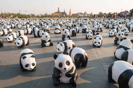BANGKOK,THAILAND - MARCH 4, 2016 : 1,600 pandas have just arrived in Bangkok as part of their world tour. The papier mache sculptures will be exhibited in Bangkok during March and April 2016.The number 1,600 represents how many pandas are left in the wild