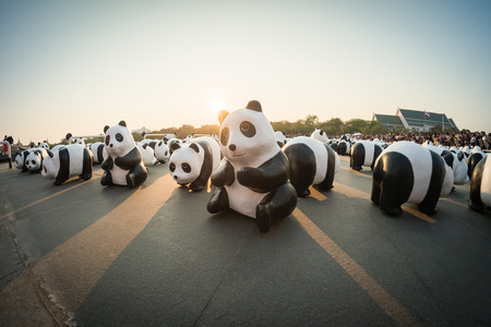 just arrived: BANGKOK,THAILAND - MARCH 4, 2016 : 1,600 pandas have just arrived in Bangkok as part of their world tour. The papier mache sculptures will be exhibited in Bangkok during March and April 2016.The number 1,600 represents how many pandas are left in the wild