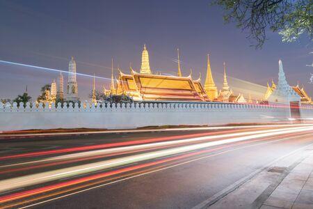 the emerald city: Wat Phra Kaew at night Bangkok,Thailand Editorial