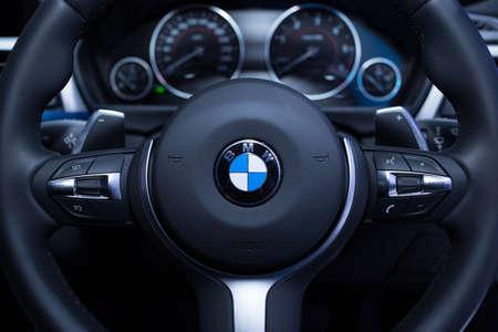 bmw: BANGKOK, THAILAND. MARCH 26 : Steering of BMW at THE 35th BANGKOK INTERNATIONAL MOTOR SHOW in Bangkok, Thailand on March 26, 2014
