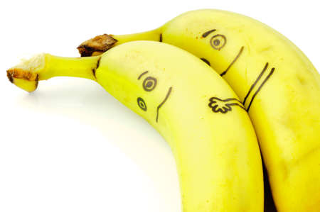 Two banana s figures lie sweet side by side in love photo