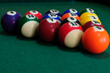 billard: Pool balls in a triangle on the pool table Stock Photo