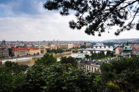 A overview shot of the city of Prague in the Czech Republic