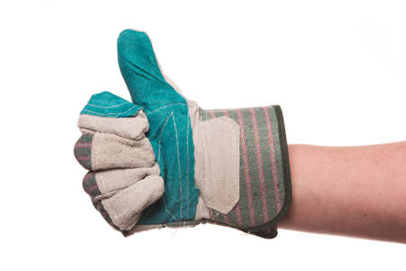 A view of a thumb up with a glove isolated on a white background