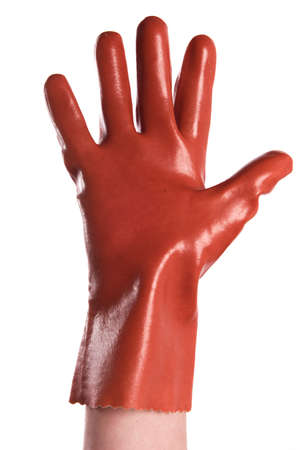 A view of a raised hand with a glove isolated on a white background photo