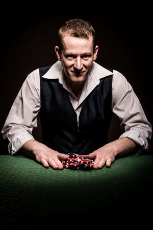 gambler: A male gambler feels fortunate and goes all inn