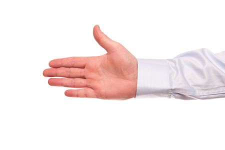 A hand of a businessman gives a hand isolated on a white background