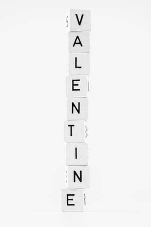 The word valentine made of stacked cubes Stock Photo - 54231834