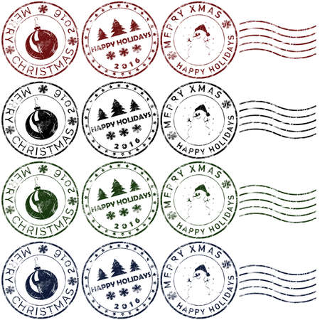 Set 5 of christmas rubber stamps in red, green, blue and black Stock Photo - 67350823