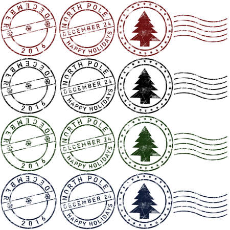 Set 1 of christmas rubber stamps in red, green, blue and black Stock Photo