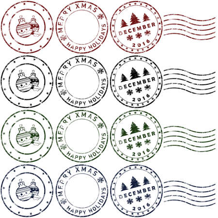 Set 2 of christmas rubber stamps in red, green, blue and black Stock Photo - 71288960