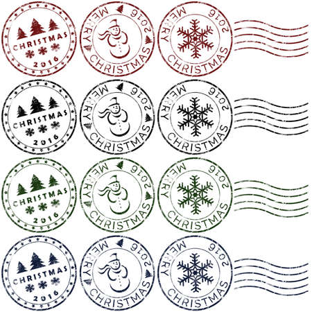 Set 3 of christmas rubber stamps in red, green, blue and black