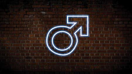 Male symbol neon sign Zdjęcie Seryjne
