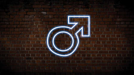 Male symbol neon sign Stock Photo