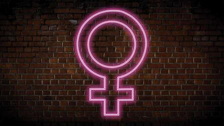 Female symbol neon sign Banco de Imagens