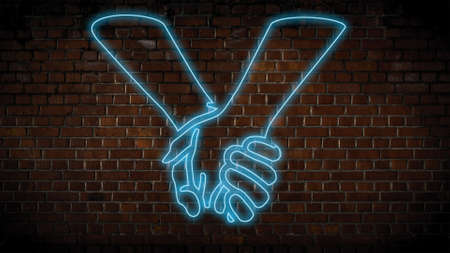 Holding hands neon sign