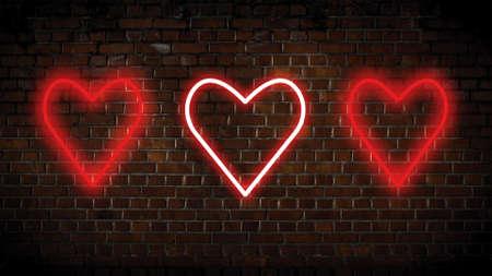 Valentine colored hearts