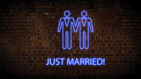 Wedding neon sign men Zdjęcie Seryjne