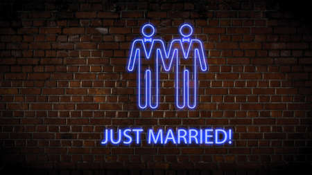 Wedding neon sign men Stock Photo
