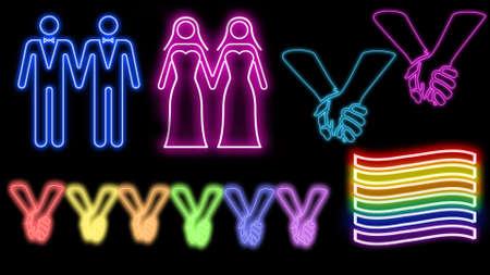 Love is love neon set Banco de Imagens
