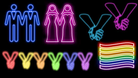 Love is love neon set Stock Photo