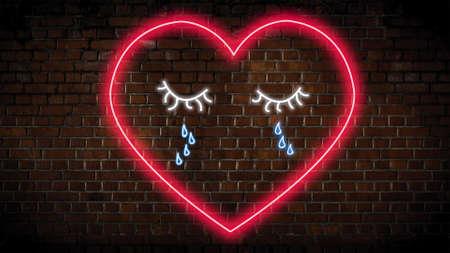 Heartbroken heart neon sign Banco de Imagens