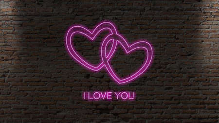 Hearts with text neon sign