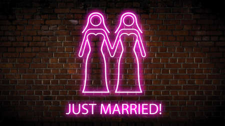 Just married neon sign Stock Photo