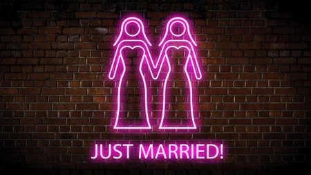 Just married neon sign Banco de Imagens