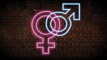 Male and female neon sign Stock Photo