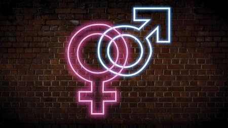 Male and female neon sign Banco de Imagens