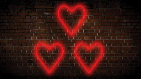 Small red hearts neon sign Stock Photo
