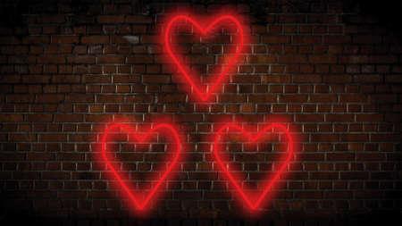 Small red hearts neon sign Banco de Imagens
