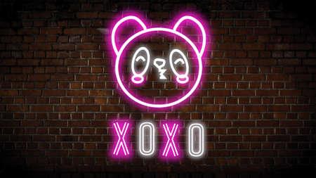 Xoxo neon sign  on a brick wall Banco de Imagens