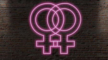 Female x Female neon signe Stock Photo