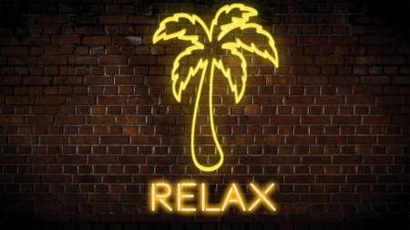 Relax neon sign on wall Zdjęcie Seryjne