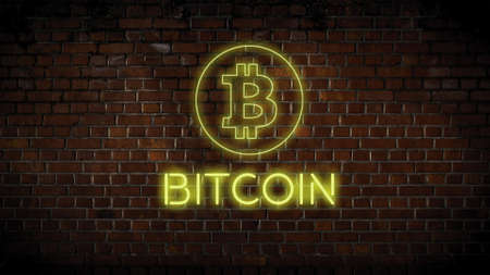 Neon bitcoin sign and text