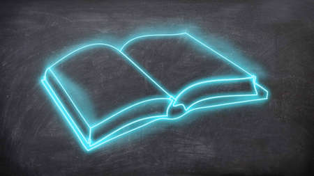 Blue neon book sign