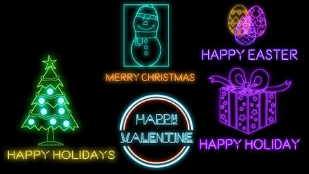 Holiday neon pack isolated