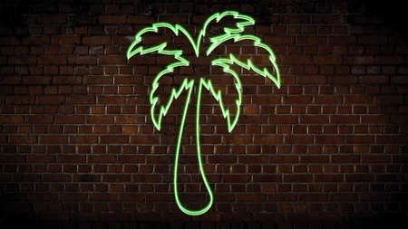 Green palmtree neon sign