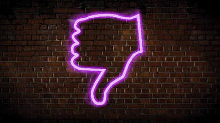 Dislike thumb neon sign Zdjęcie Seryjne