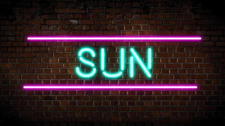 Sun neon sign on wall Zdjęcie Seryjne