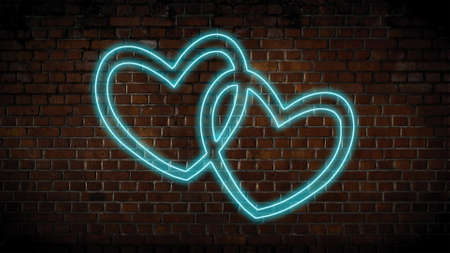 A pair of hearts neon sign
