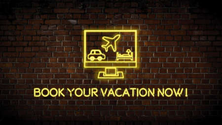 Neon vacation sign Zdjęcie Seryjne